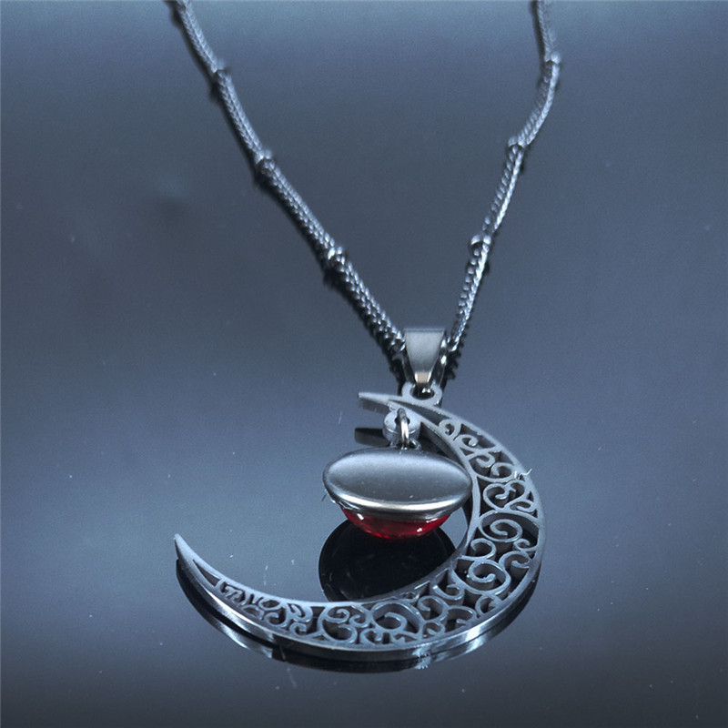 2020 Moon Stainless Steel Women Necklace Black Color Necklace and Red Class Bead Necklace Chain Jewelry collier femme N1130S03