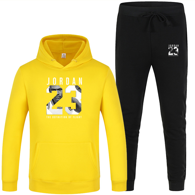 New Men's Hooded Sweater Set White Red Pink Sportswear Pullover Sweater Hoodie + Sweatpants Jogging Men's Pullover 3XL Sports Su 1
