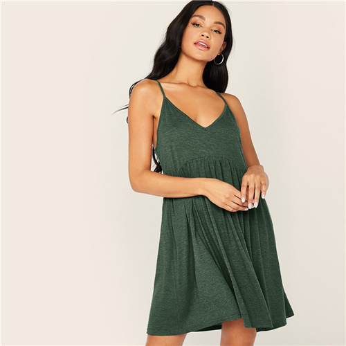 SHEIN Solid Criss-cross High Waist Slip Cami Dress Women Summer Deep V Neck Pleated Hem Fit and Flare Casual Short Dresses
