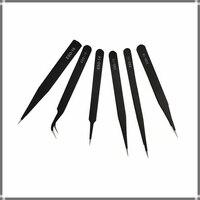 ESD Antistantic Edelstahl Pinzette Stahl Schwarz Wies Isolieren Pinzette Set Löten Elektronische Werkstatt Industrielle Hand Werkzeug-in Industrielle-Pinzette aus Werkzeug bei