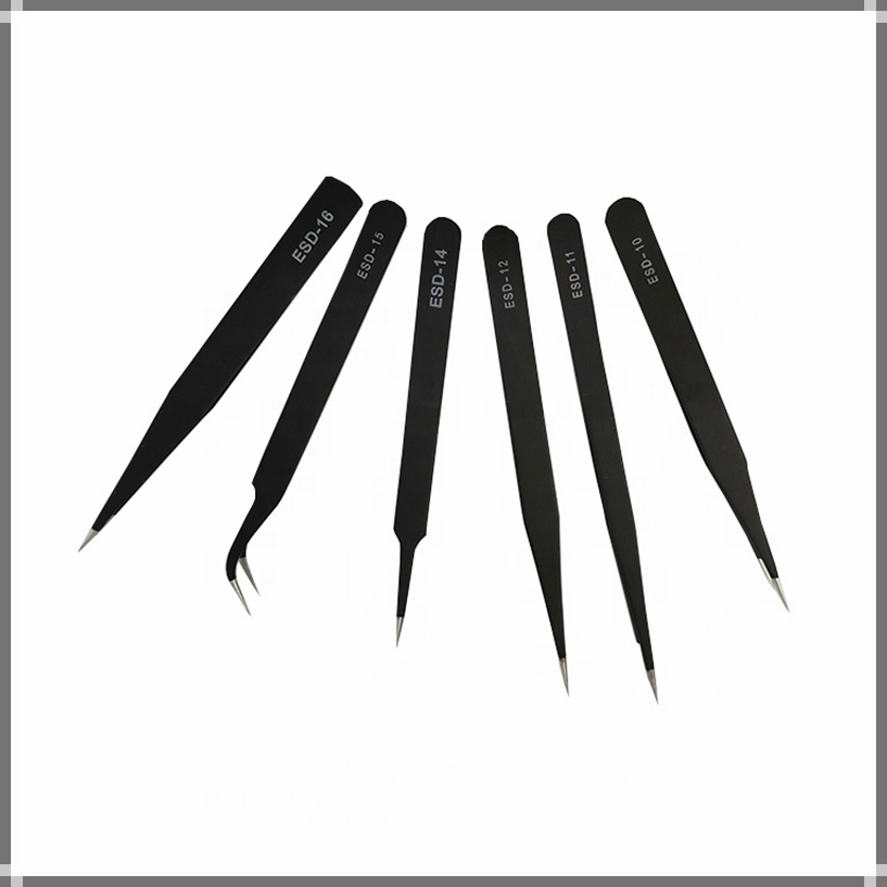 ESD Antistantic Stainless Tweezer Steel Black Pointed Isolating Tweezers Set Soldering Electronic Workshop Industrial Hand Tool