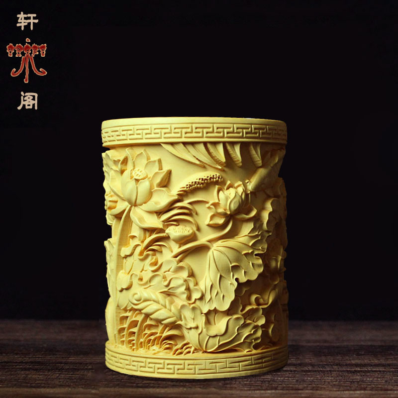 Chinese Boxwood Wood Carving Classical Chinese Wind Solid Wood Pen Holder Desktop Decoration Decoration