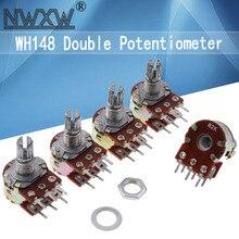 5pcs B1K B2K B5K B10K B20K B50K B100K B500K B1M 6Pin Shaft WH148 Potentiometer 1K 2K 5K 10K 20K 50K 100K 500K 1M