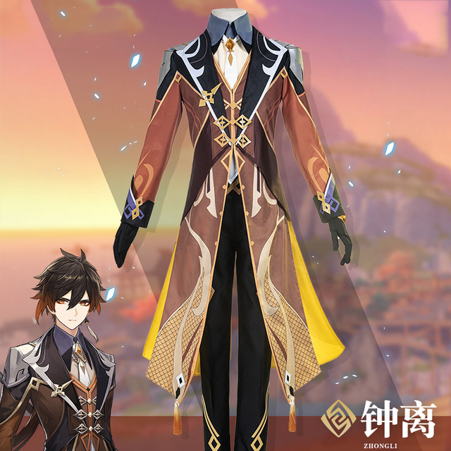 Anime! Genshin Impact Zhongli Cosplay Costume Game Suit Men Fancy Uniforms Halloween Carnival Party Outfits Custom Made 5