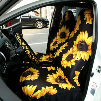 Uniwersalny 2 szt Zestaw pokrowców na siedzenia samochodowe nadruk ze słonecznikiem akcesoria do wnętrza samochodu komfortowe pokrowce ochronne na samochód ciężarowy SUV Van tanie i dobre opinie KKMOON Cztery pory roku Other CN (pochodzenie) 30cm Pokrowce i podpory 380g Podstawową Funkcją 20cm Car seat covers