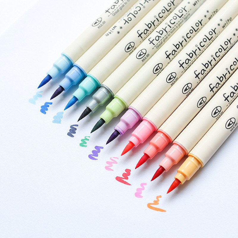 10 Pcs Future Color Touch Write Fabric Brush Pen Color Calligraphy Marker Pens Stationery Drawing Art School Supplies A6805