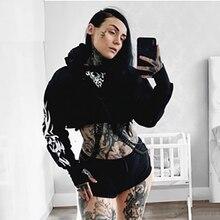 Goth Dark Print Grunge Gothic Sweatshirts Women Harajuku Autumn 2019 Winter Hoodies Cropped Punk Vintage Aesthetic