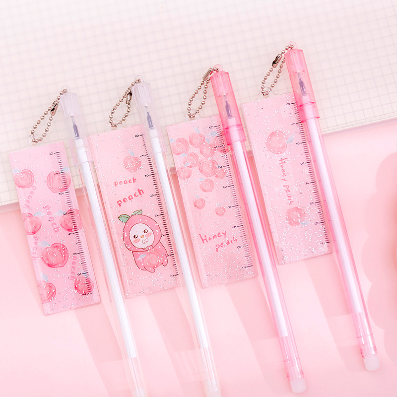 Honey Peach Ruler Pendant Black Ink Gel Pen Ink Pen Promotional Gift Stationery School & Office Supply