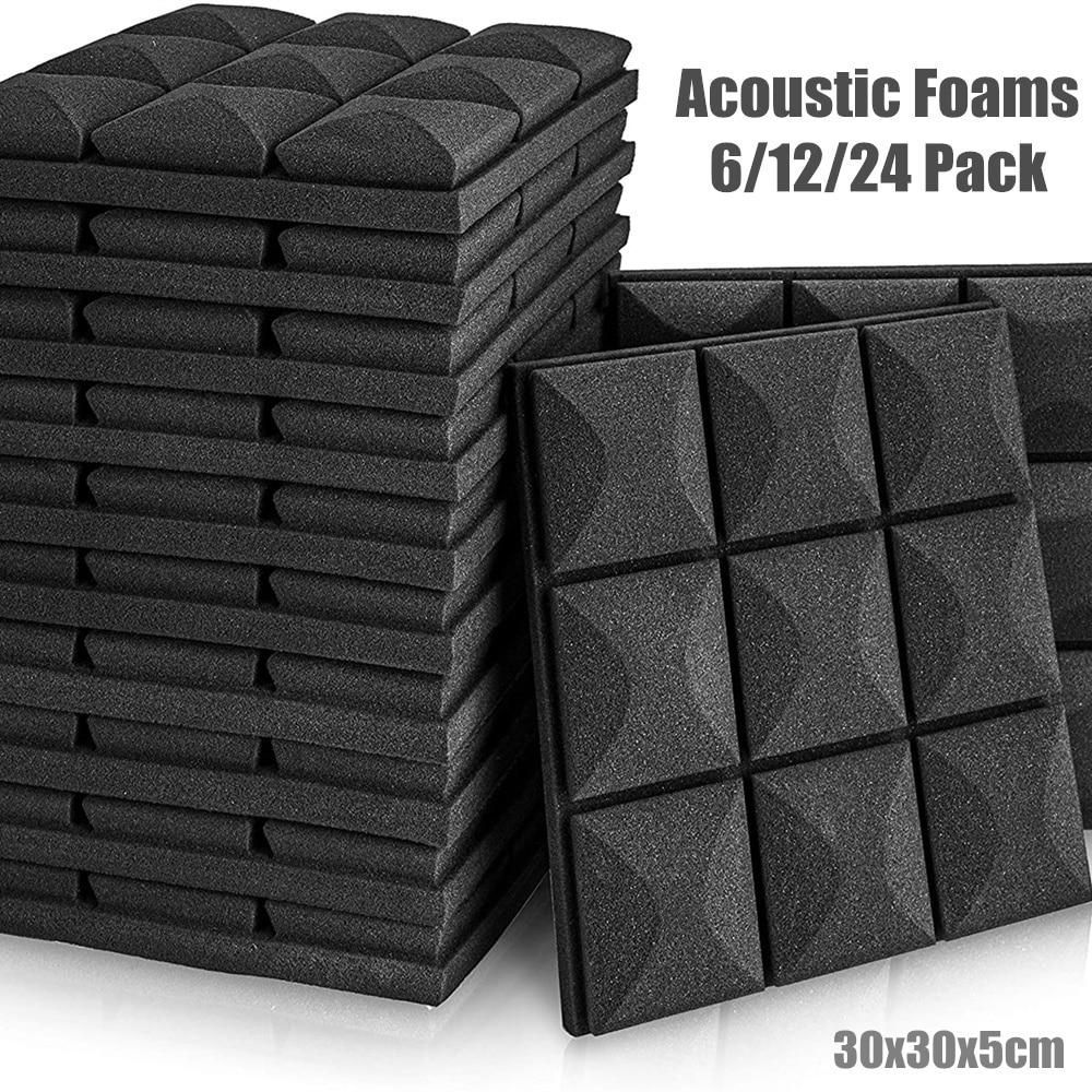 6/12/24 pces estúdio espuma acústica pannel absorção de som esponja tambor ktv sala silêncio tratamento parede de poliuretano à prova de som espuma