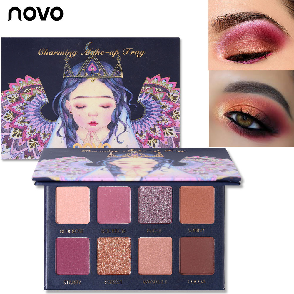 Novo 8 cores matte shimmer fantasia elf sombra paleta à prova dwaterproof água nude olho sombra beleza brilho diamante brilho olho maquiagem kit