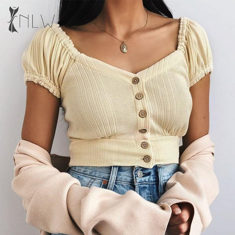 NLW Vintage Puff Sleeve Knitted Blouses Tops Square Collar Button Slim Blouses Shirts 2019 Autumn Winter Knitwear Blusas