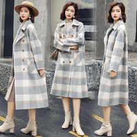 Süße Plaid Lange Mantel für Frauen Breite taille Wolle Mantel und Jacke drehen-unten Kragen Taschen Frauen Kleidung