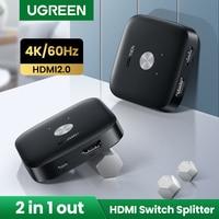 UGREEN-conmutador HDMI 4K/60Hz para Mi Box Xiaomi, convertidor de Salida 2 en 1, divisor HDMI para PS5, PS4, TV Box