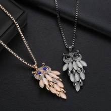 Trendy Long Alloy Hollow Out Owl Pendant Choker Necklace Charm Opal Sweater Chain Necklace Fashion Jewelry Gift For Women punk style alloy hollow out body chain for women