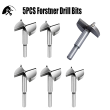 Forstner Drill Bit Sets 5pcs High Speed Steel Carbon Woodworking Hole Saw Set with 3/8 inch Shank 1-2/5 - 2-2/5 (35-60mm)