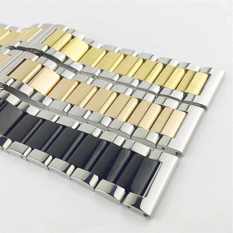 16 مللي متر 18 مللي متر 20 مللي متر 22 مللي متر 24 مللي متر 26 مللي متر الفولاذ المقاوم للصدأ حزام (استيك) ساعة مشبك مربط الساعة حزام المعصم سوار الذهب الأسود الفضة