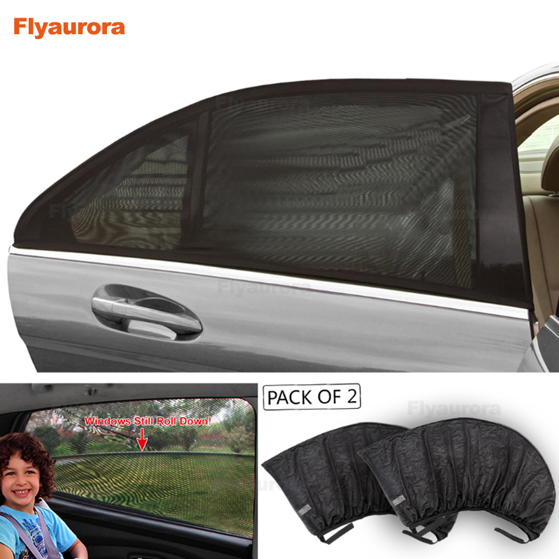 2Pcs  Window Sun Shade Black Mesh Cover Child UV Protector Shield For Most Car Auto Car Side Rear Window Sun Shade Curtain Black