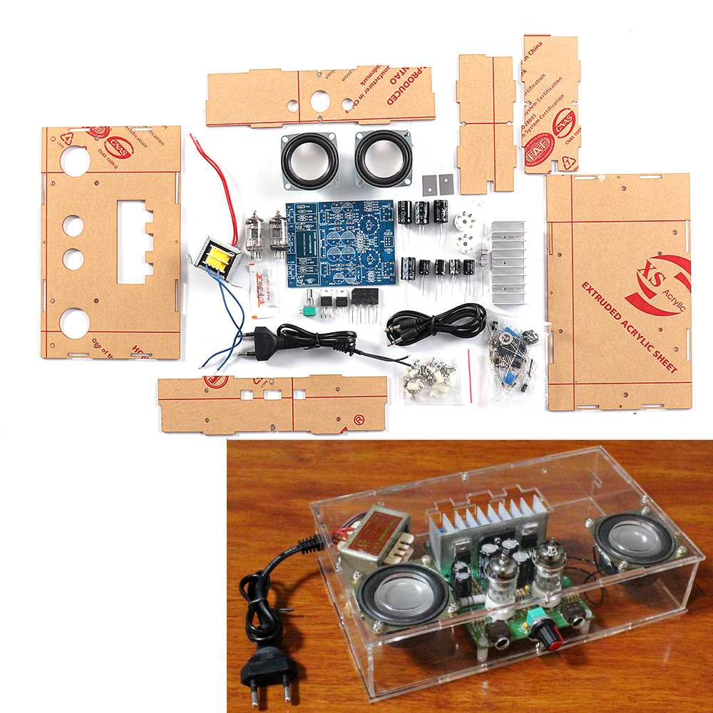 DIY J1 Tube Preamp Amplifier Board Pre-amp Headphone Amp 6J1 Valve Preamp Bile Buffer Diy Kits With 12v Dual Power Shell Speaker