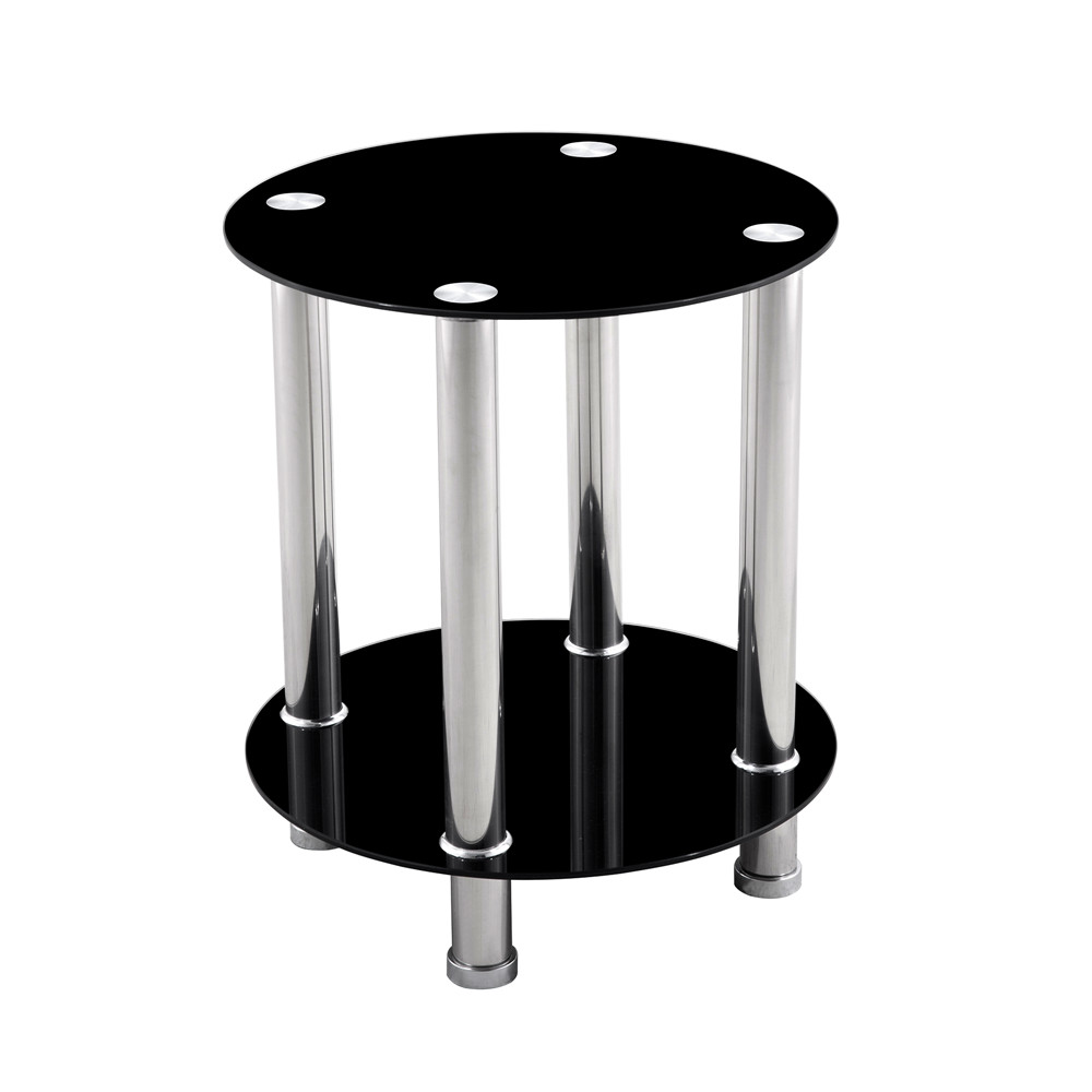 Minimalist Modern End Table 2-Tier Round Glass Side Table Living Room Furniture Clear Glass Table New Fashion Black Coffee Table