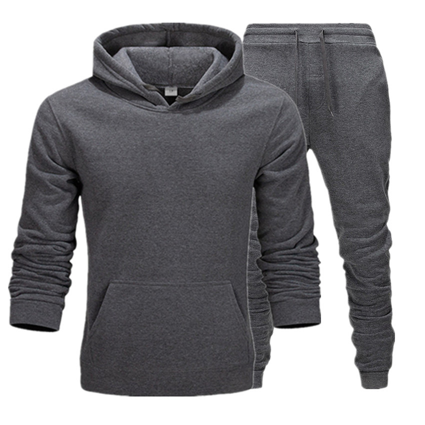 New Fashion Mens Hoodies Suits Brand Tracksuit Men's Hip Hop Sweatshirts+Sweatpants Autumn Winter Fleece Hooded Pullover