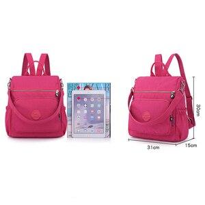Image 3 - 3 1 여자 배낭 솔리드 패션 학교 가방 여자 나일론 방수 대학생 배낭 어깨 여행 인과 가방