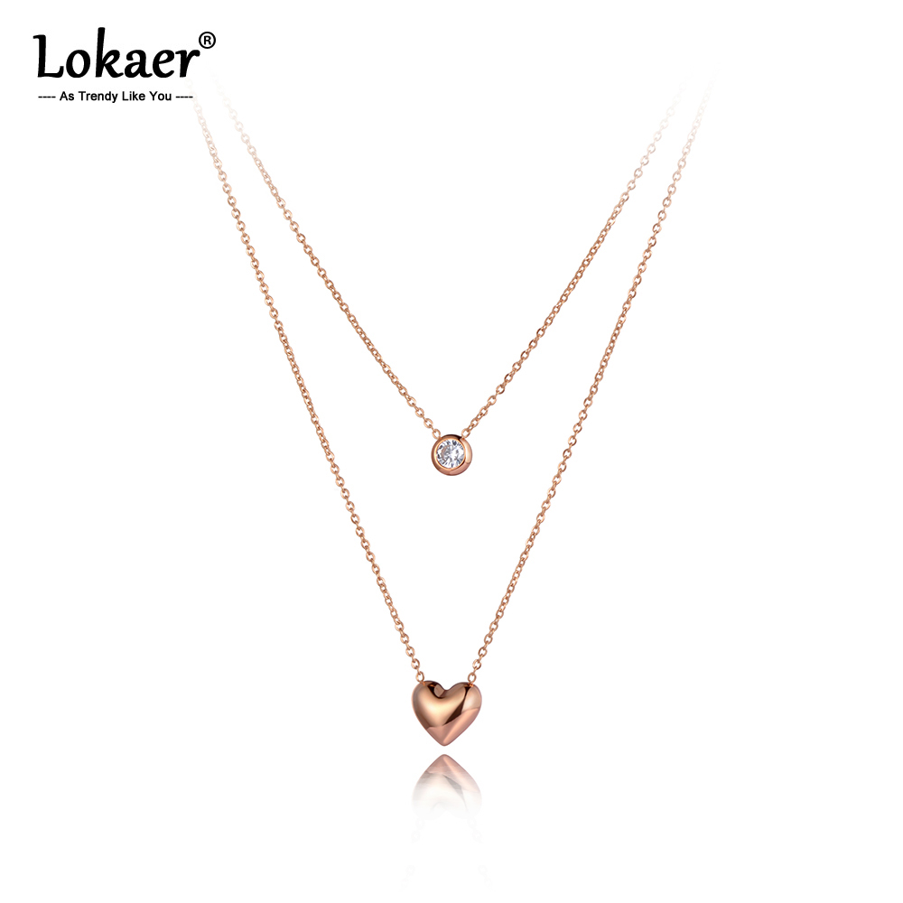 Lokaer Bohemia Design Double Layer Heart Pendant Necklaces For Women Stainless Steel CZ Crystal Chain Choker Necklace N20149