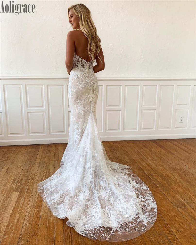 Gorgeous Lace Mermaid Wedding Dresses Halter Illusion Backless Sweep Train Bridal Gowns Country Style Vestidoe De Noiva Custom
