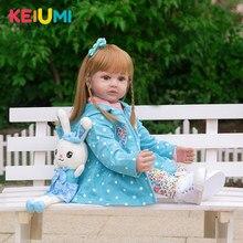 Keiumi nova chegada 24 Polegada reborn bonecas do bebê 60 cm silicone vinil realista bebe reborn menina para crianças aniversário presentes de natal
