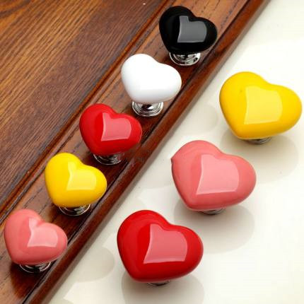 Colorful Lovely Cartoon Heart Shape Ceramic Door Knob Cabinet Drawer Pull Handles  Door Knob  Door Knobs and Handles|Cabinet Pulls|   - AliExpress