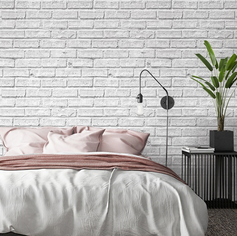 White Gray Imitation Brick Wallpaper Roll Vintage Brick Texture Waterproof PVC Wallpaper Living Room Home Decoration