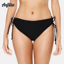 Anfilia Women Bikini Bottom Ladies Cutout Swim Trunks Solid Color Swimwear Briefs Side Bandage Swimming
