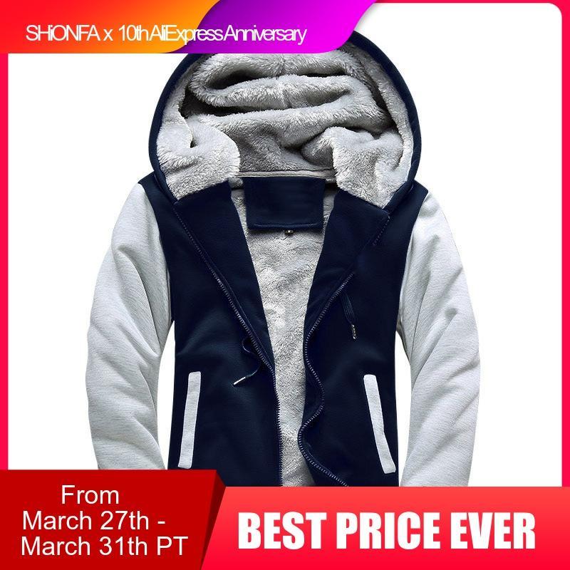 Shionfa Patchwork Fleece Men's Hoodie Winter Thick Sweatshirts Casual Hooded Cardigan Fashion Bomber Fur Jackets Zipper Coat 5xl