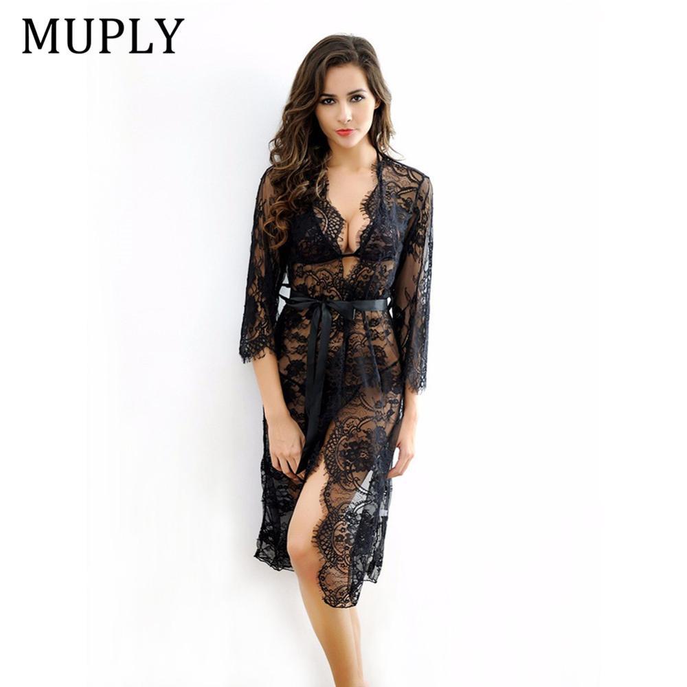 2019 New Women Sexy Deep Neck Lace Lingerie Sleepwear Dress Underwear Babydoll Nightgown Black White Nightdress Chemise De Nui
