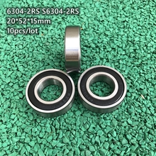 10pcs/lot 6304-2RS S6304-2RS rubber sealed stainless steel deep groove ball bearing 6304 S6304 2RS RS 20x52x15mm