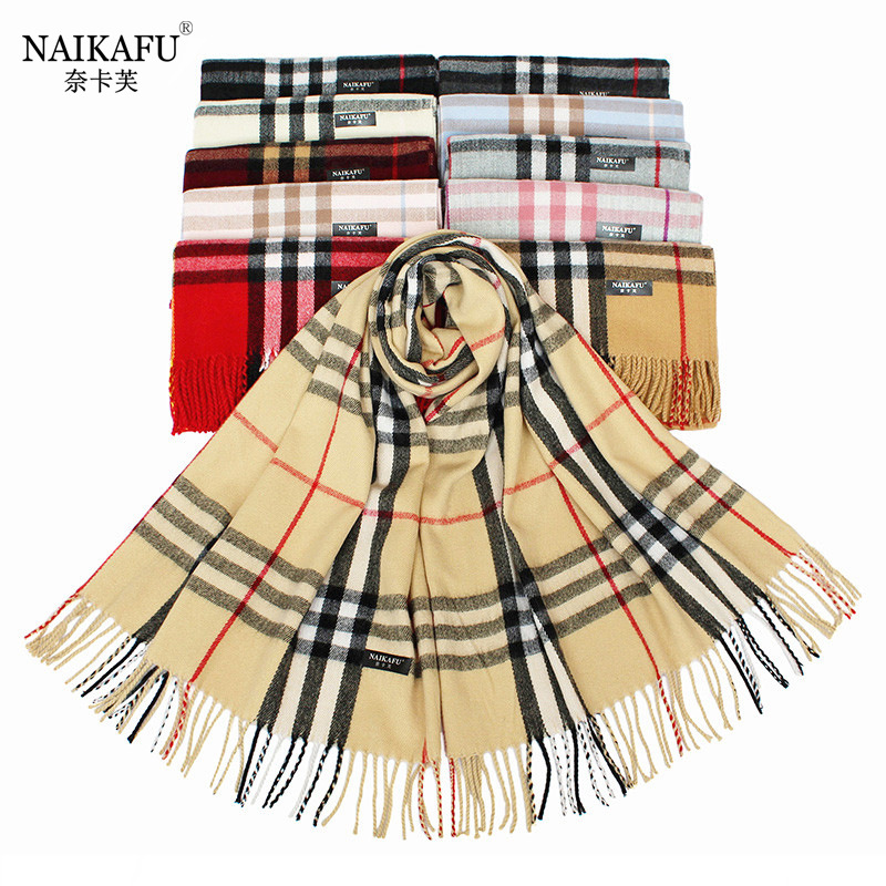 2019 Autumn And Winter New Style Europe And America Big Brand Large Grid Faux Cashmere Scarf Tassels Cashmere Shawl Dual Purpose