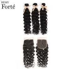 Remy forte Water Wave Bundles With Closure 30 Inch  Brazilian Hair Weave 3/4