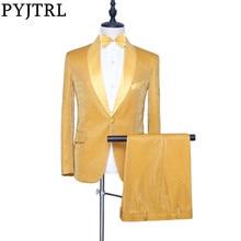 PYJTRL ใหม่ผู้ชาย 2 ชิ้นชุดทองเงาผ้าคลุมไหล่พรหมชุดแต่งงานเจ้าบ่าว Tuxedo เครื่องแต่งกาย Homme ล่าสุดเสื้อกางเกง designs
