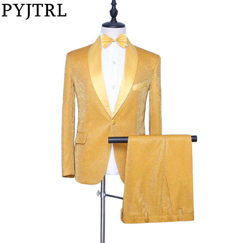 PYJTRL New Men Two Pieces Set Gold Shiny Shawl Lapel Prom Suits Wedding Groom Tuxedo Costume Homme Latest Coat Pant Designs