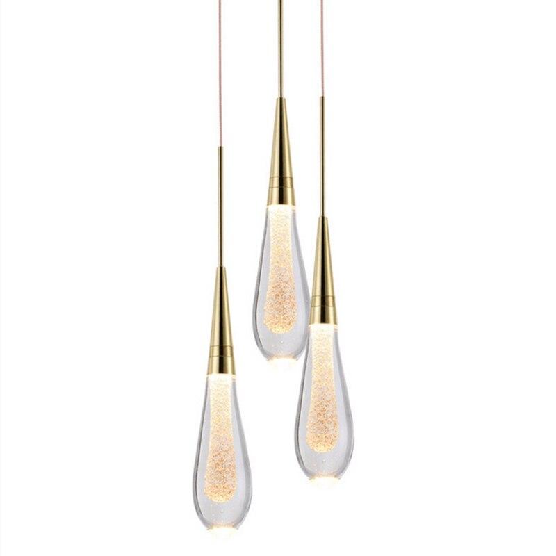 Goutte D'eau de luxe En Verre Pendentif Éclairage LED Postmoderne Hôtel Design Chambre À Coucher Salle À Manger Lampes suspendues En Cristal - 6