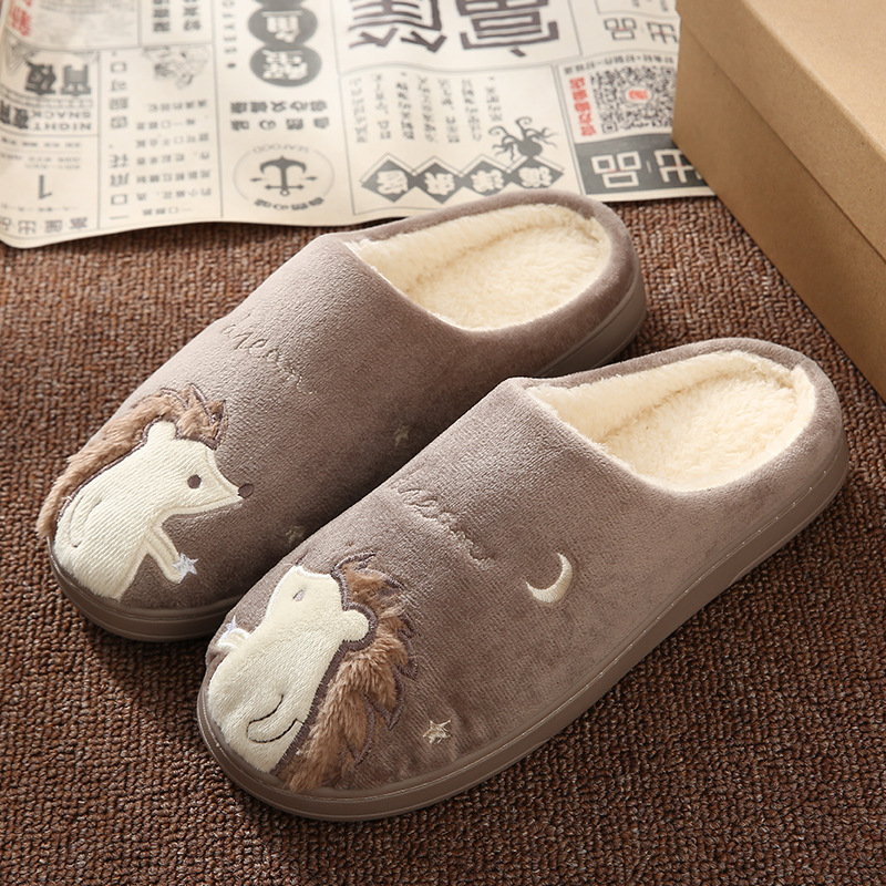 Cute Hedgehog Women Winter Home Slippers Cartoon Animal Slip On Soft Winter Warm House Shoes Men Women Slippers Indoor Bedroom 4