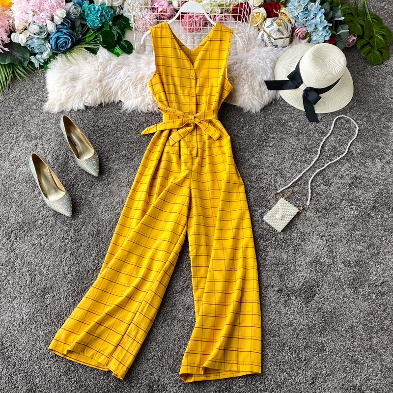 P255 2020 New Korean Style Waistband Plaid Jumpsuit Temperament High Waist Wide Leg One Piece Casual Rompers Womens Jumpsuit