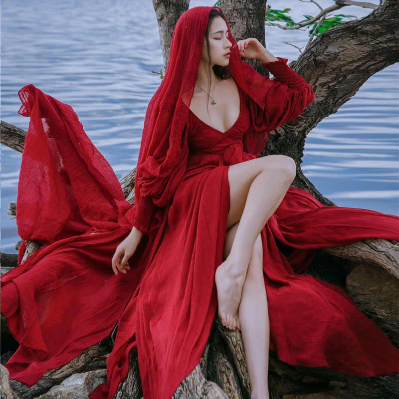 Yosimi 2019 verão maxi algodão e linho do vintage longo vestido feminino vestidos de festa vermelho com decote em v manga cheia faixas femininas