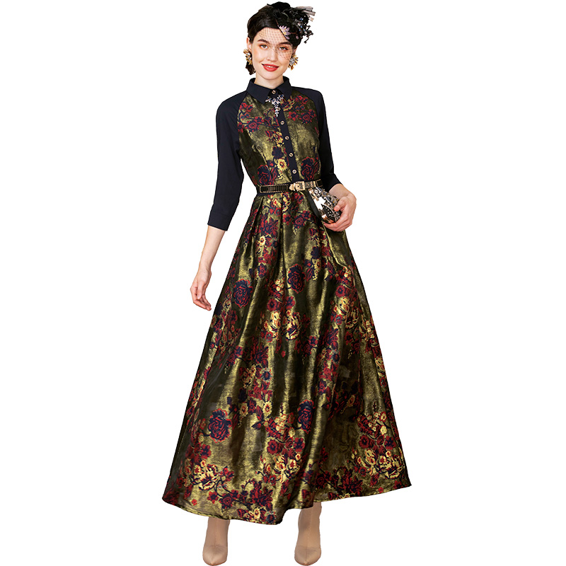 Luxury Autumn Long Dress High Quality 2019 Party Dress Women's Wonderful Flowers Jacquard Elegant Dress DZ2231