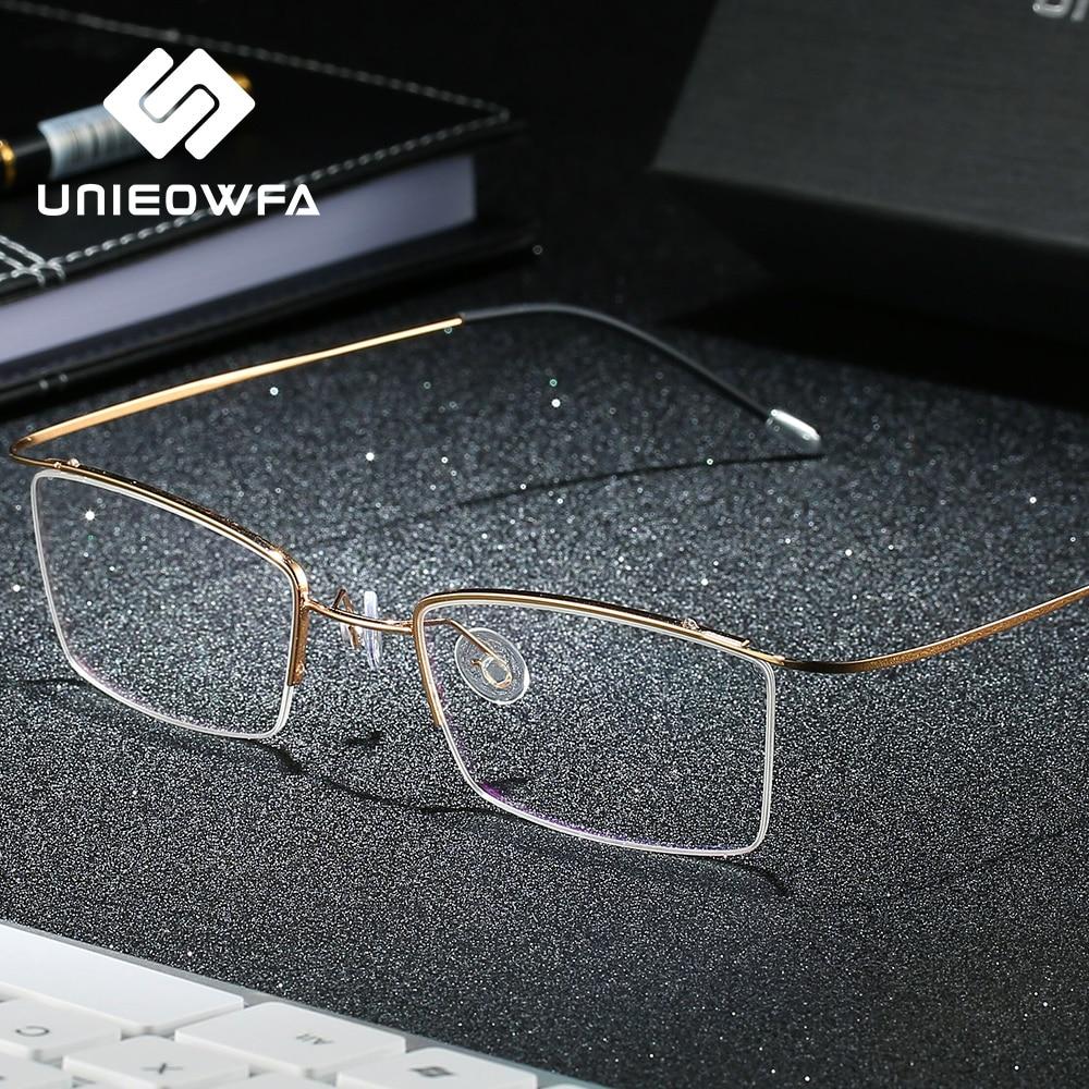 Semi Rimless Titanium Glasses Men Frame Optical Myopia Eyeglasses Frame Korean Clear Transparent Prescription Spectacles Frame