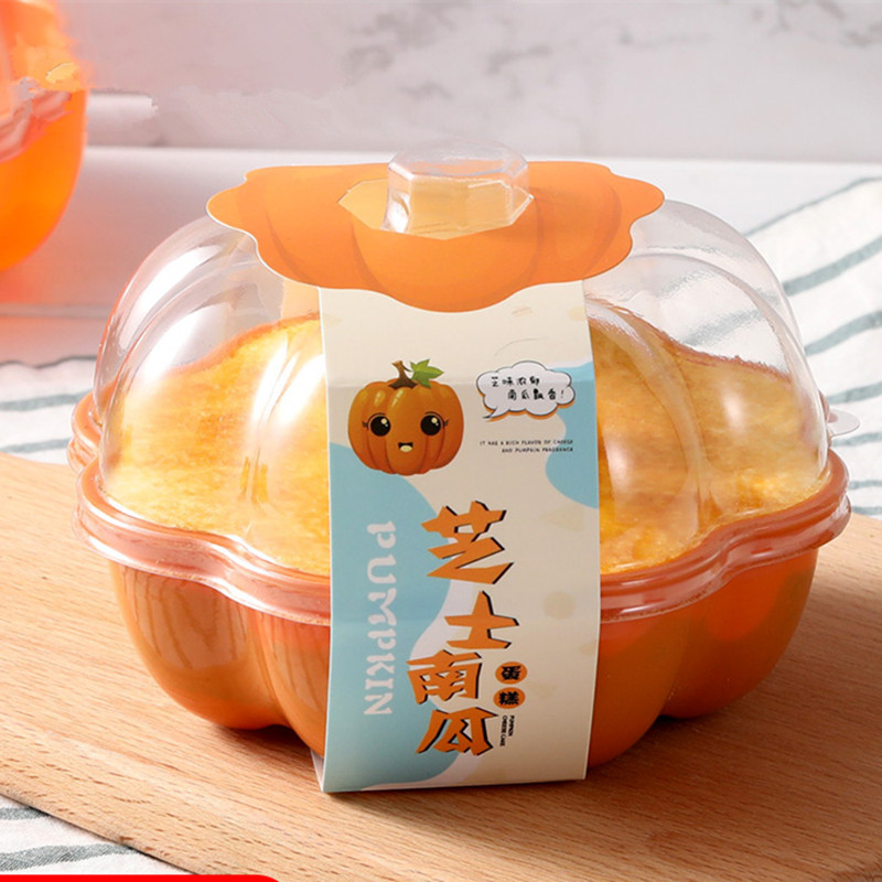 25pcs High Quality Halloween Cheese Pumpkin Cake Box Transparent Bread Dessert Pudding Ice Cream Cup Disposable Baking Package image
