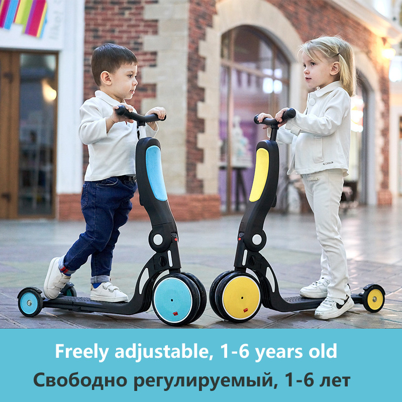 5 In 1 Kids Scooter Tricycle  Balance Bike Child Ride On Toy Boy Girl Scooter Adjustable Toddler Birthday Gift Outdoor Toys