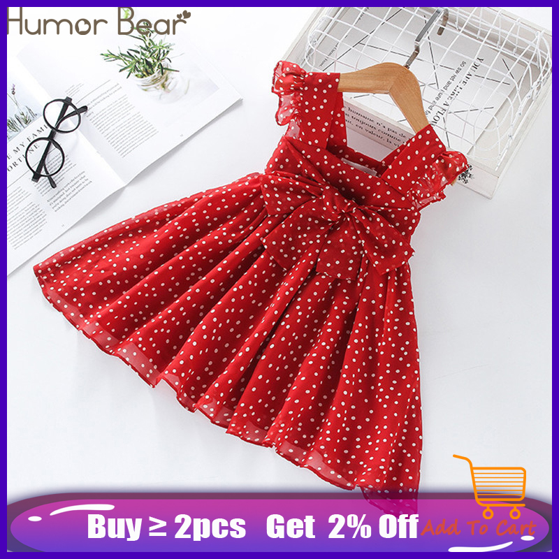 Humor Bear Girls Dress SummerBrand New Dress For Girls Sleeveless Chiffon Polka Dot Dress Princess Dress Girl Toddler Dress