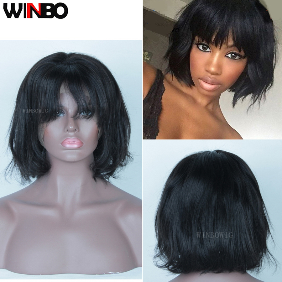 WINBO Malaysian Hair Wavy BOB Wig 13x6 Lace Frontal Wigs Remy Hair Black Women Wigs 13x4 Lace Front Wigs Natural Black Color