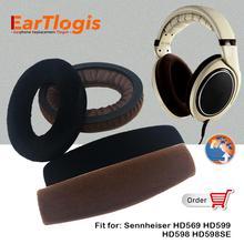 EarTlogis قطع غيار مخملية لـ Sennheiser HD569 HD598 HD598SE HD599 ، وسادات أذن ، واقي رأس ، وسادة