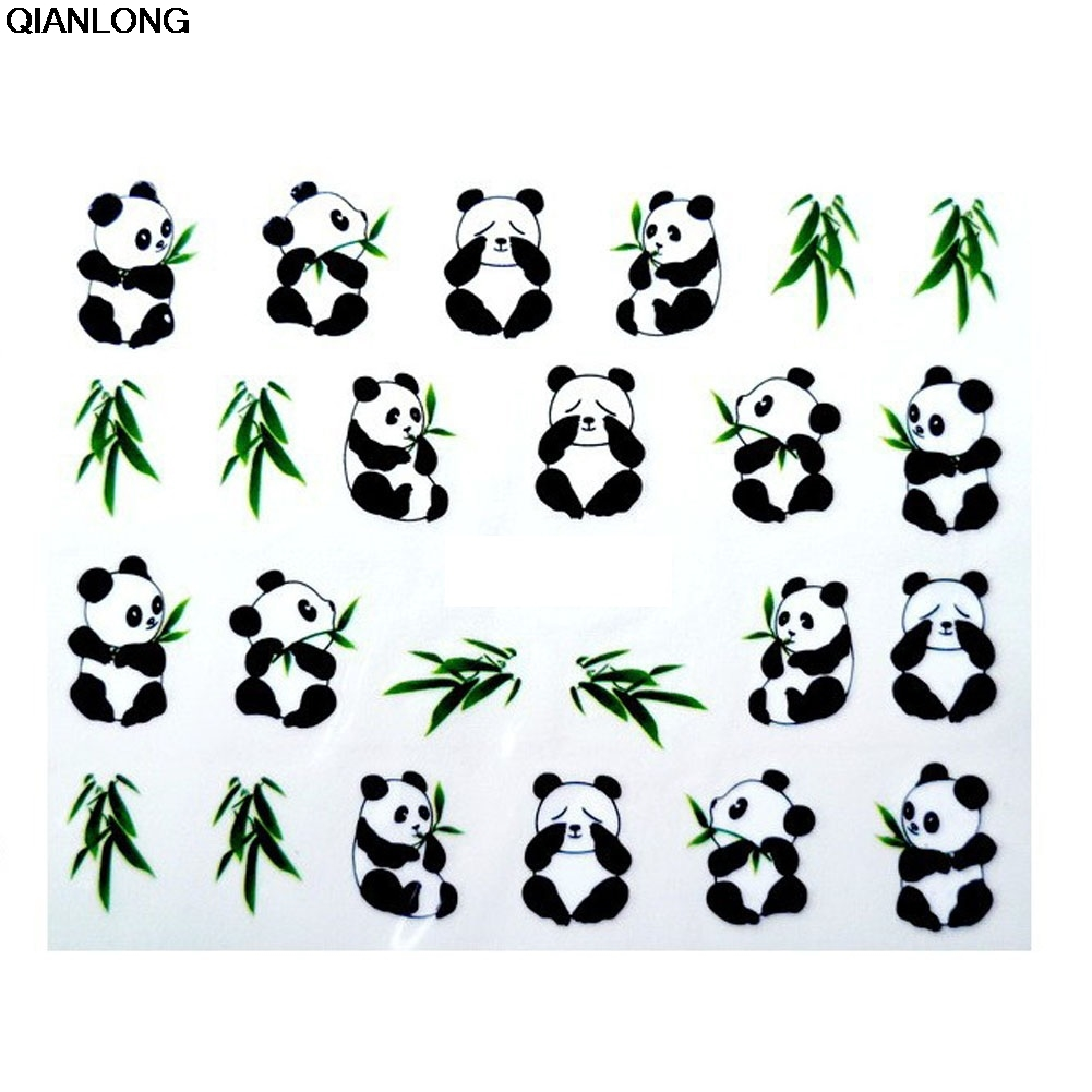 1 Sheet New Design 3D Water Transfer Printing Nail Art Sticker Decals Cute Panda DIY Nail Decoration Styling Tools